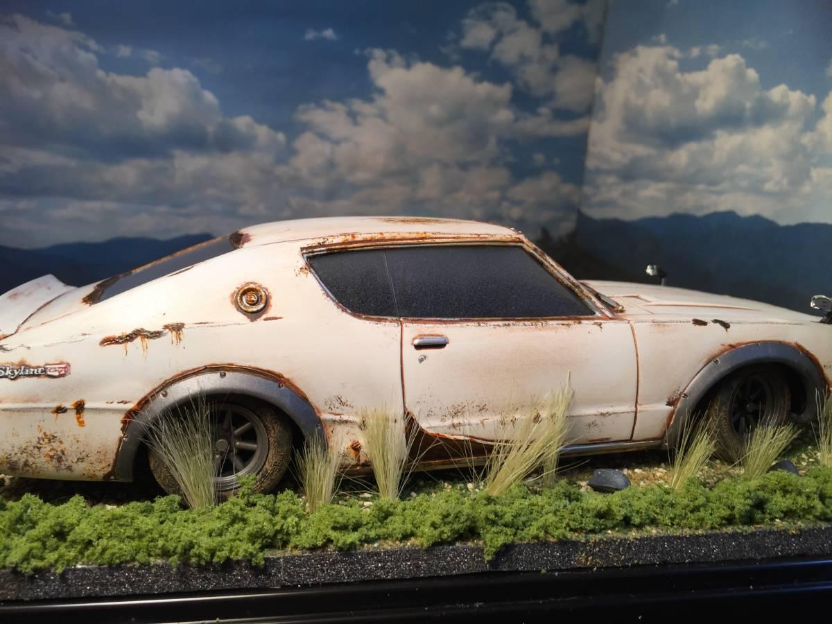 1/24 ニッサン スカイライン 2000GT-R ケンメリ 草ヒロ 昭和の風景 旧車 自作ジオラマ完成品 ケース付_画像8