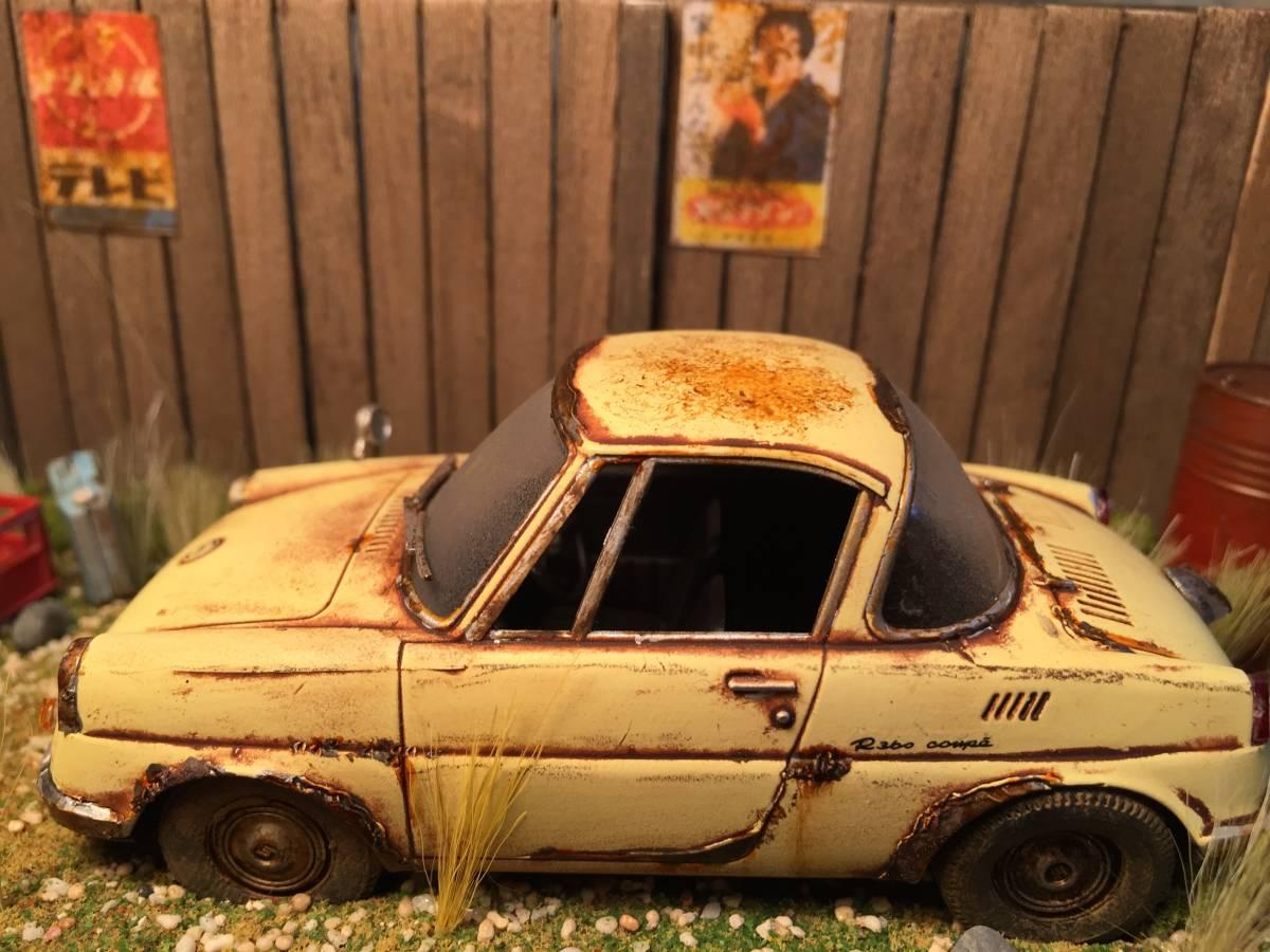 1/32 マツダ クーペ 昭和の風景 旧車 自作ジオラマ完成品 ケース付_画像3