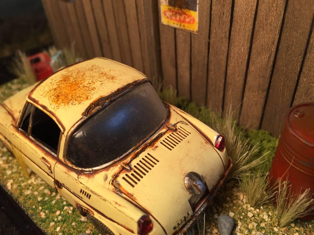 1/32 マツダ クーペ 昭和の風景 旧車 自作ジオラマ完成品 ケース付_画像6
