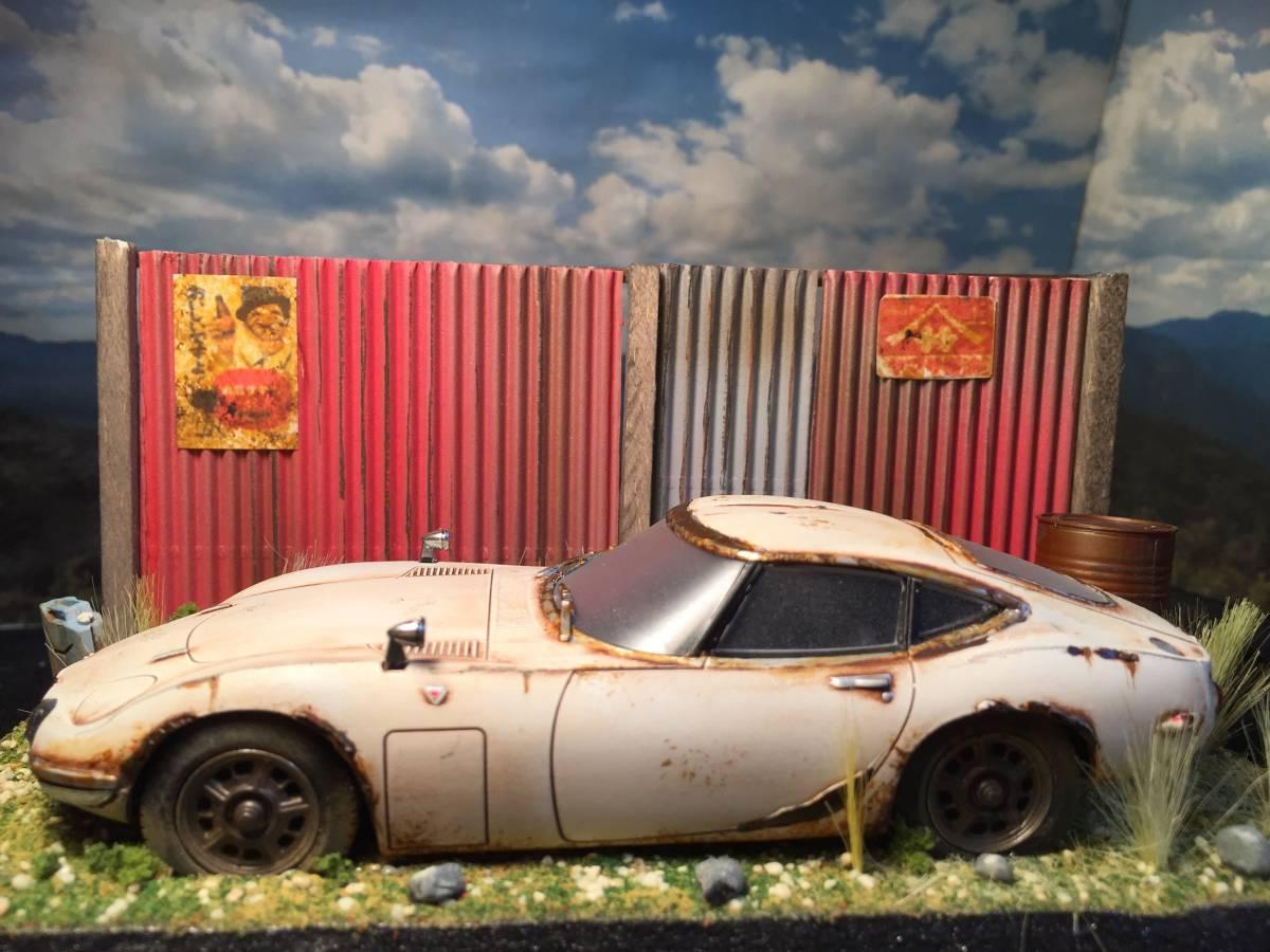1/32 トヨタ 2000GT 昭和の風景 旧車 自作ジオラマ完成品 ケース付_画像3