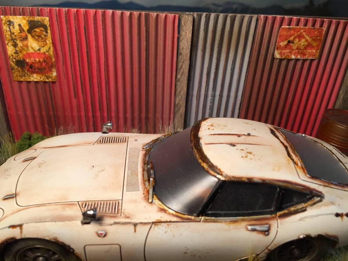 1/32 トヨタ 2000GT 昭和の風景 旧車 自作ジオラマ完成品 ケース付_画像4