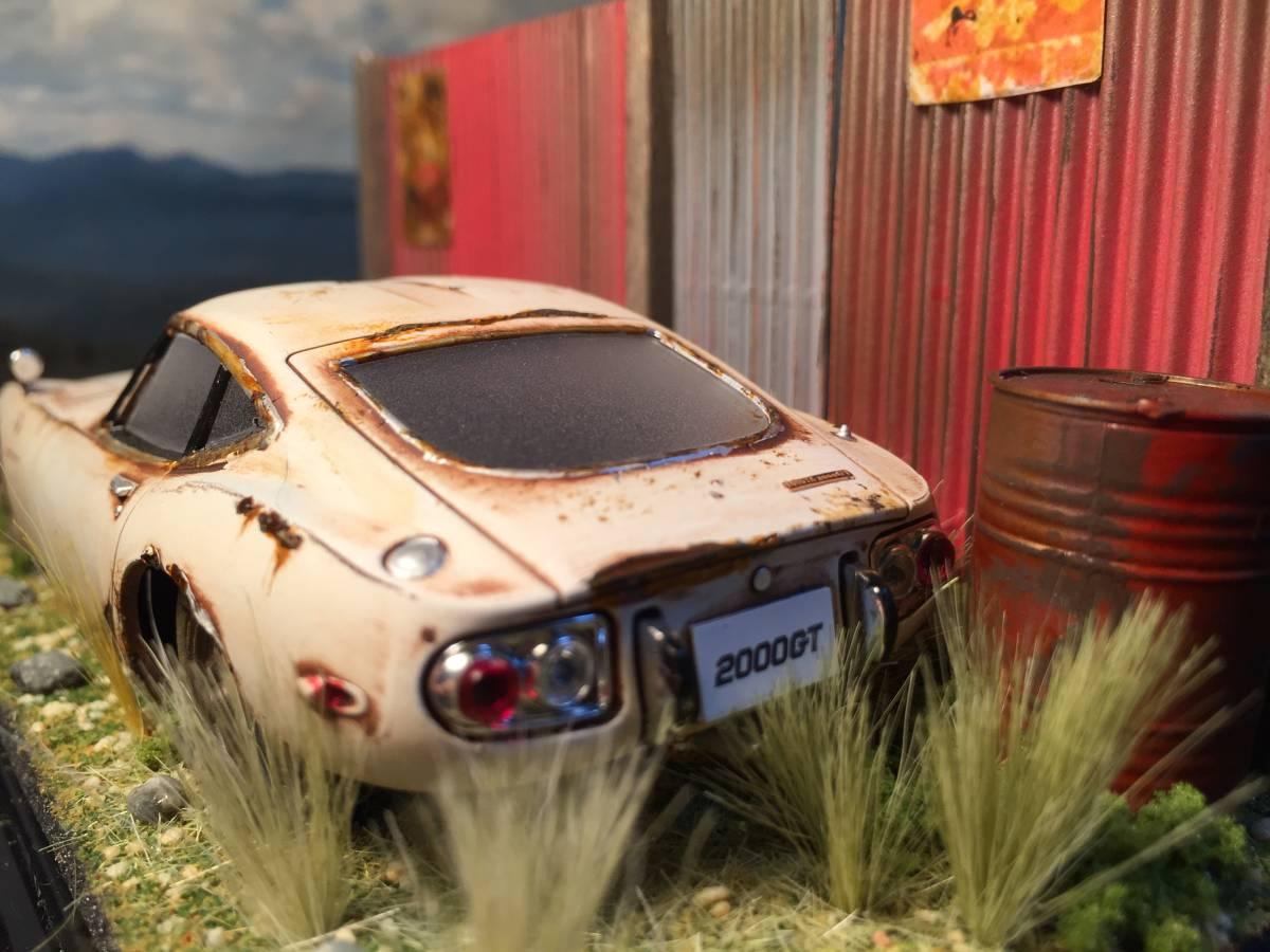 1/32 トヨタ 2000GT 昭和の風景 旧車 自作ジオラマ完成品 ケース付_画像5