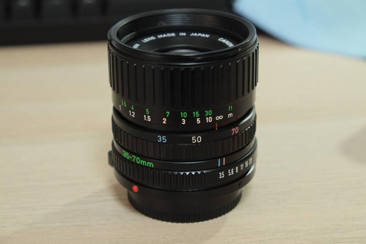 動作品 Canon フィルム一眼レフ A-1 モータードライブMA レンズ3本_画像4
