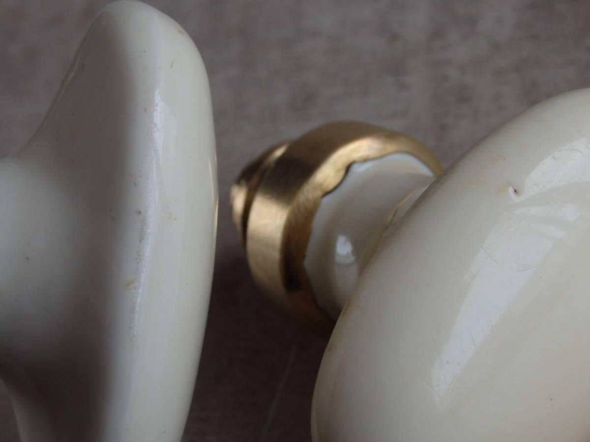 oフランスアンティーク ドアノブ 陶器 真鍮 ブロカント アトリエ 工業系 インダストリアル 白磁器 ハンドル 蚤の市 建具 カフェ PSRIS 刻印_画像7