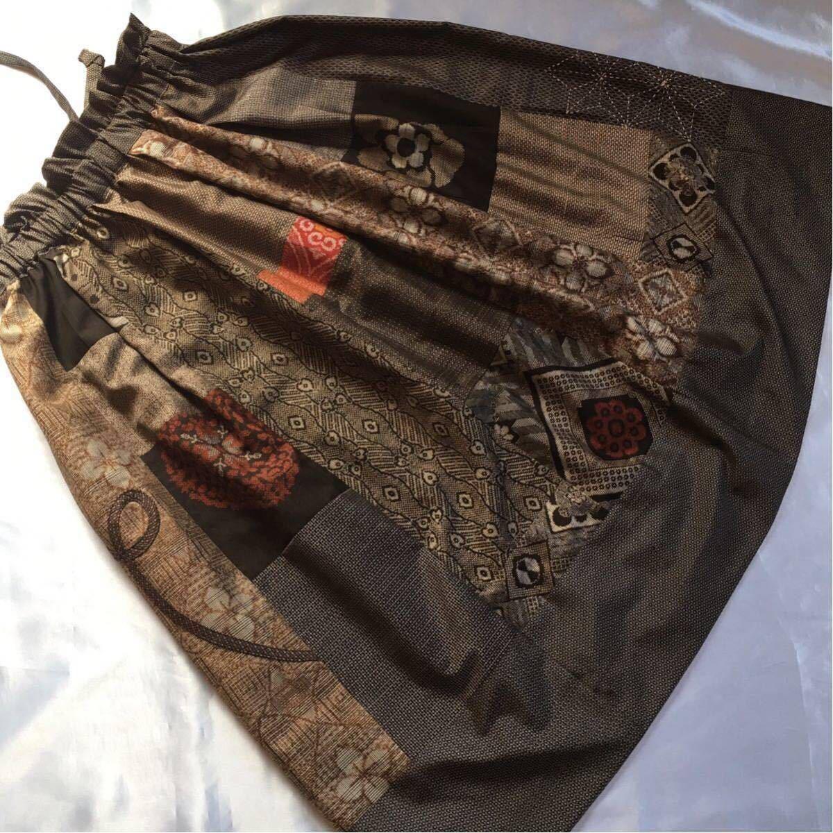 和裁士の着物リメイク/ハンドメイド/アンティーク大島紬のパッチワークスカート