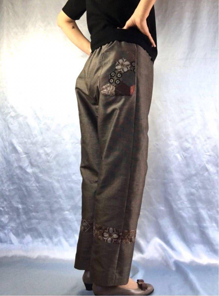 和裁士の着物リメイク/ハンドメイド/大島紬のゆったりパンツ/パッチワーク