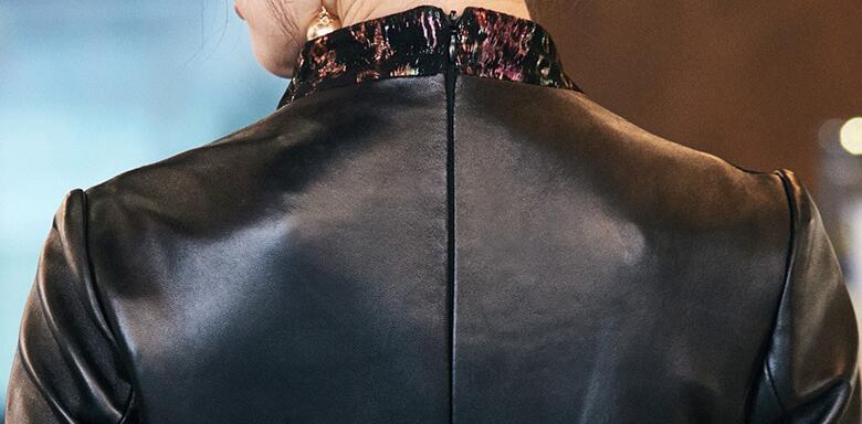 上層羊革★サイズ選択可★特別デザインレザーワンピース チャイナドレス風ラムスキン ひざ丈ワンピース 花柄 職人手作り03S500_画像7