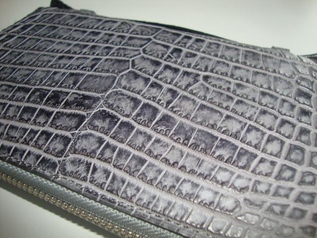 新品 クロコダイル 超逸品 JRA 認定 日本製 セカンド ラウンド 長財布 腹革 一枚革 センターカット 送料無料 グレーⅡ_画像5
