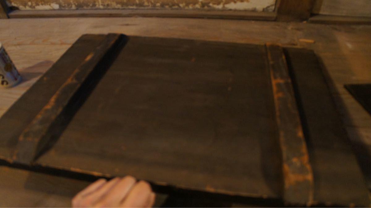 アンティーク看板木製 黒塗り レトロ看板_画像4