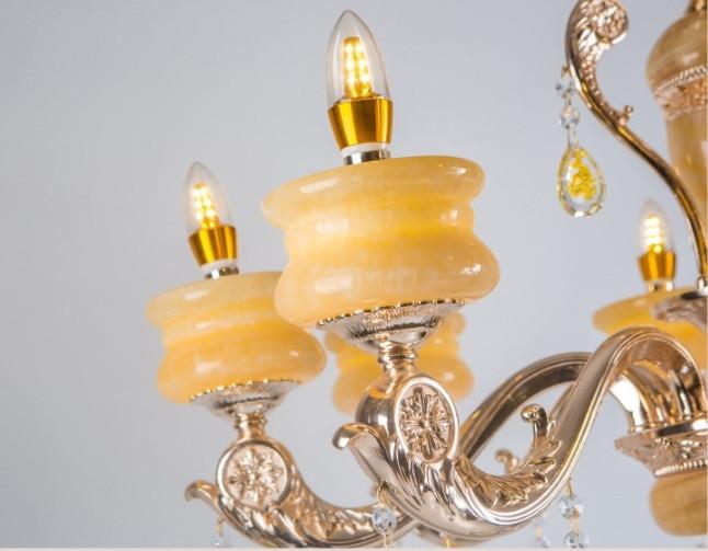 豪華 欧米スタイル 家庭用6灯シャンデリア 天然黄玉/亜鉛合金 典雅感溢れる吊ランプ 錆びにくい  照射面積15㎡ -35㎡ wd383 _画像4