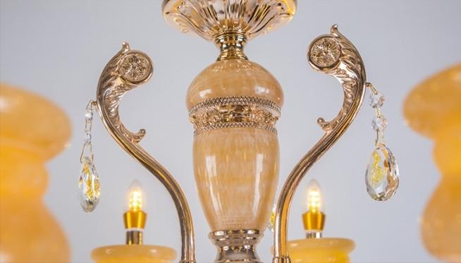 豪華 欧米スタイル 家庭用6灯シャンデリア 天然黄玉/亜鉛合金 典雅感溢れる吊ランプ 錆びにくい  照射面積15㎡ -35㎡ wd383 _画像5