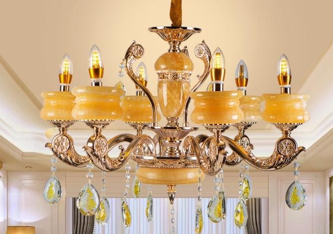 豪華 欧米スタイル 家庭用6灯シャンデリア 天然黄玉/亜鉛合金 典雅感溢れる吊ランプ 錆びにくい  照射面積15㎡ -35㎡ wd383