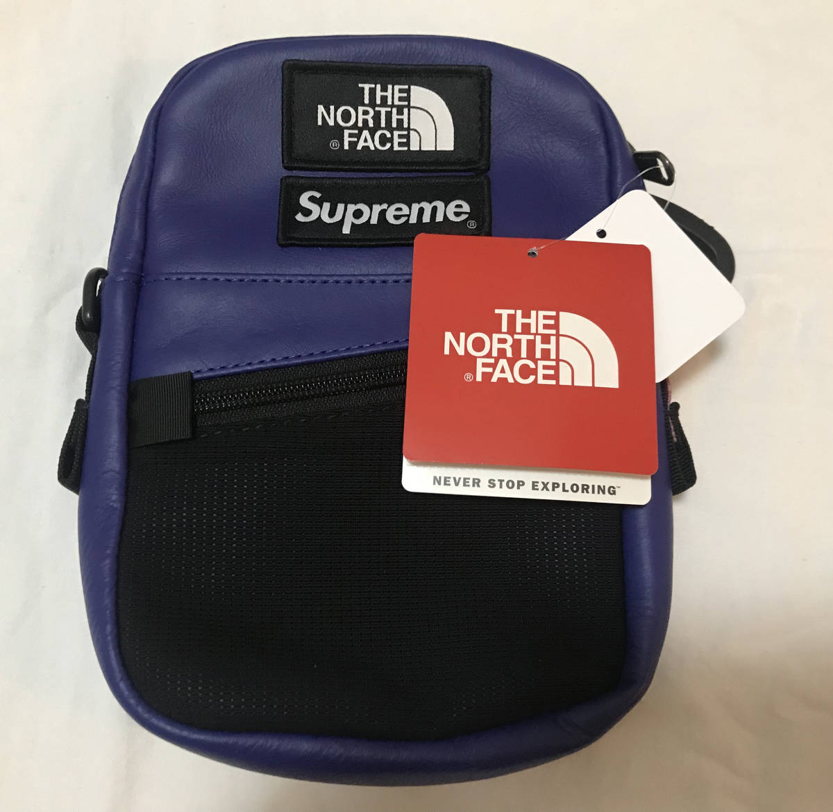 3884d557a1e 限定 新品 SUPREME X THE NORTH FACE LEATHER SHOULDER BAG BLUE PURPLE シュプリーム  ノースフェイス レザー ショルダー バッグ