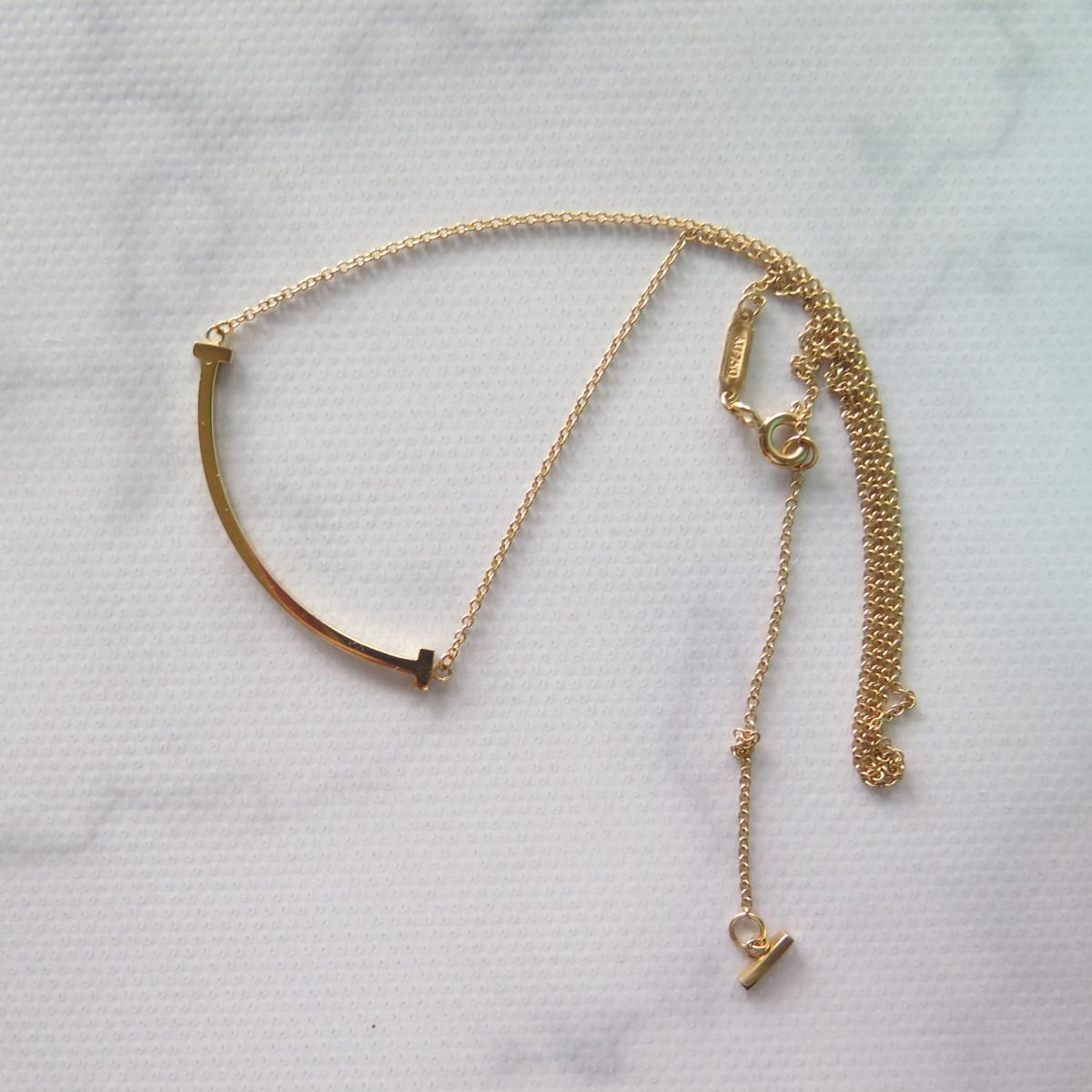 reputable site 636e6 4cbae ティファニー ネックレス T スマイル ペンダント K18 Au750刻 Tiffany&Co.