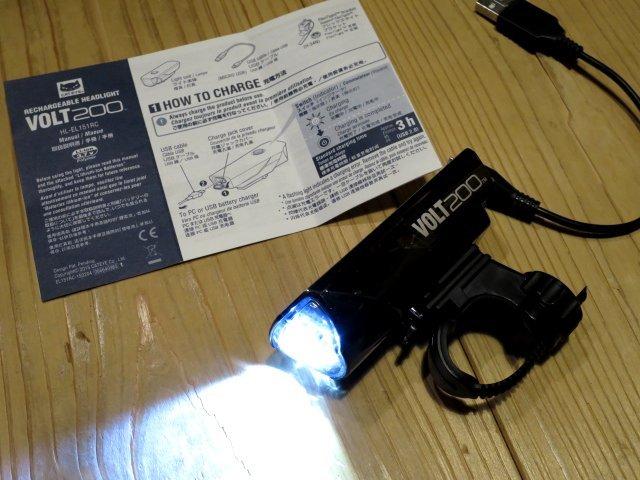★CAT EYE キャットアイ VOLT200; USB充電 自転車用ライト フロントヘッドライト 100円スタート