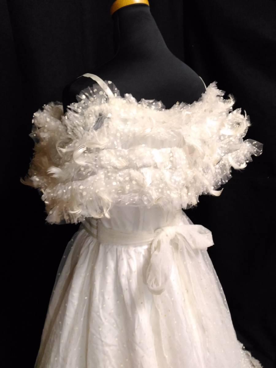 【タケミ・Marier】ドットフリルトフェザー飾りのドレス・11T _画像6