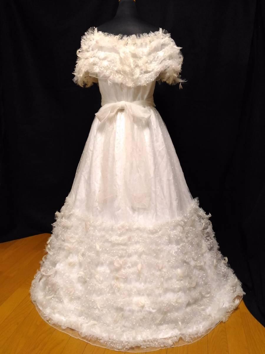 【タケミ・Marier】ドットフリルトフェザー飾りのドレス・11T _画像4