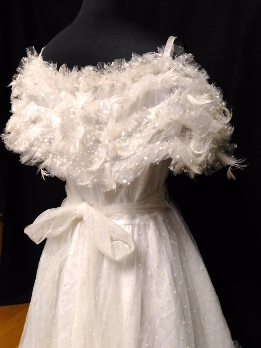【タケミ・Marier】ドットフリルトフェザー飾りのドレス・11T _画像5