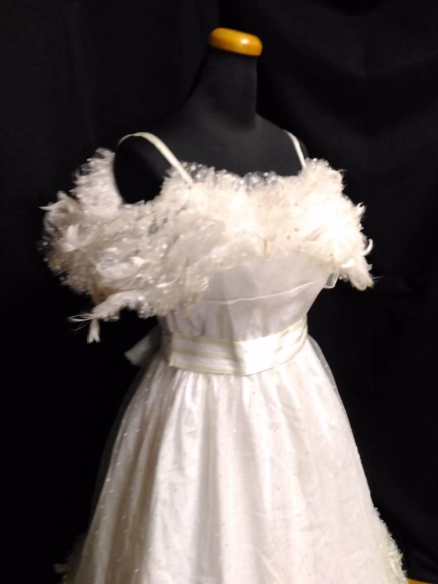 【タケミ・Marier】ドットフリルトフェザー飾りのドレス・11T _画像3