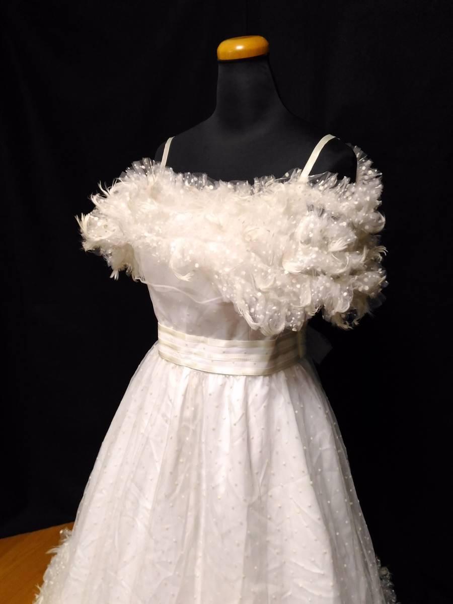 【タケミ・Marier】ドットフリルトフェザー飾りのドレス・11T _画像2