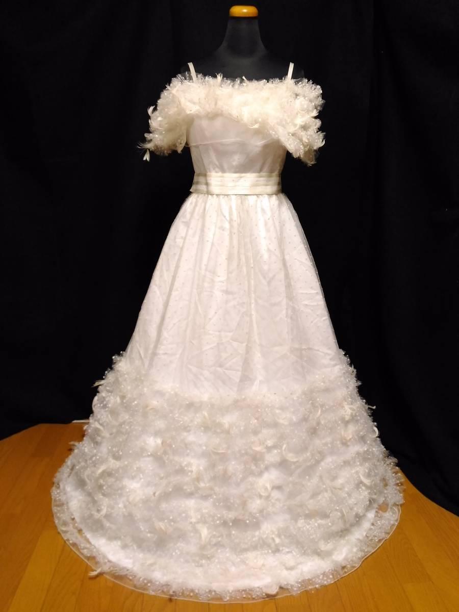 【タケミ・Marier】ドットフリルトフェザー飾りのドレス・11T
