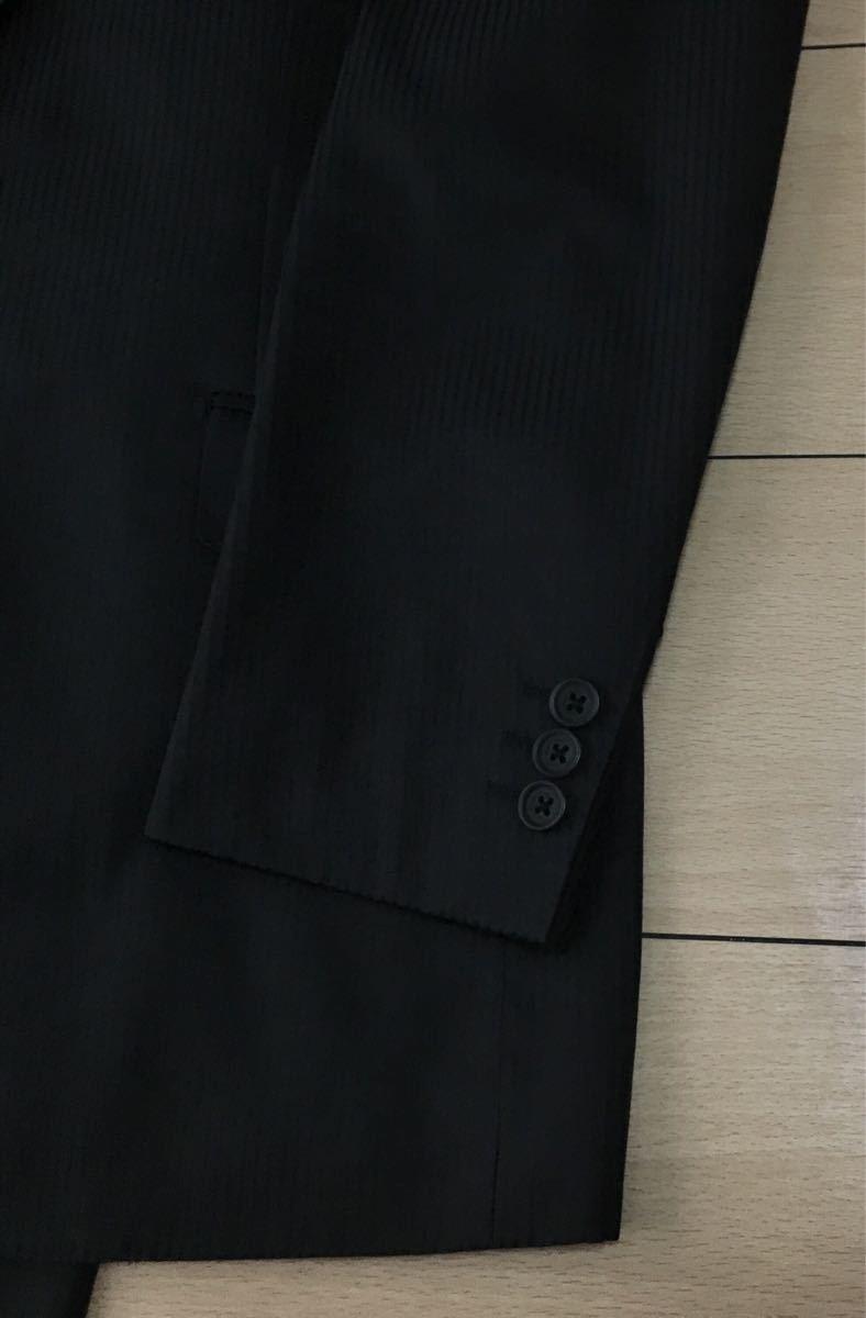 美品★アクアスキュータム★背抜き仕立て 黒 洗練されたお洒落な逸品!極上ブラックシャドーストライプセットアップスーツ/サイズ38(M位)330_画像8