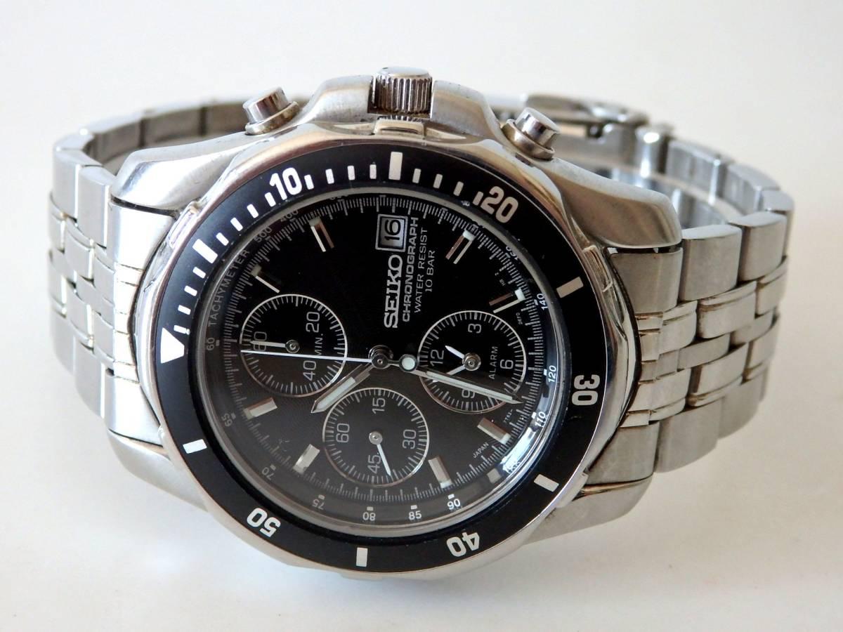 <本物 SEIKO セイコー 腕時計 クロノグラフ 7T62-0DT0 稼働品 電池交換済み>1.82.10 ☆定形外発送OK☆ 290円_画像2