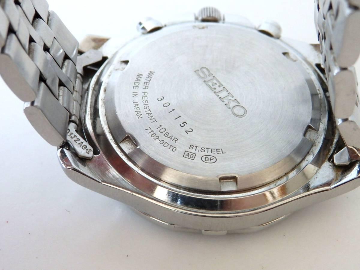 <本物 SEIKO セイコー 腕時計 クロノグラフ 7T62-0DT0 稼働品 電池交換済み>1.82.10 ☆定形外発送OK☆ 290円_画像8