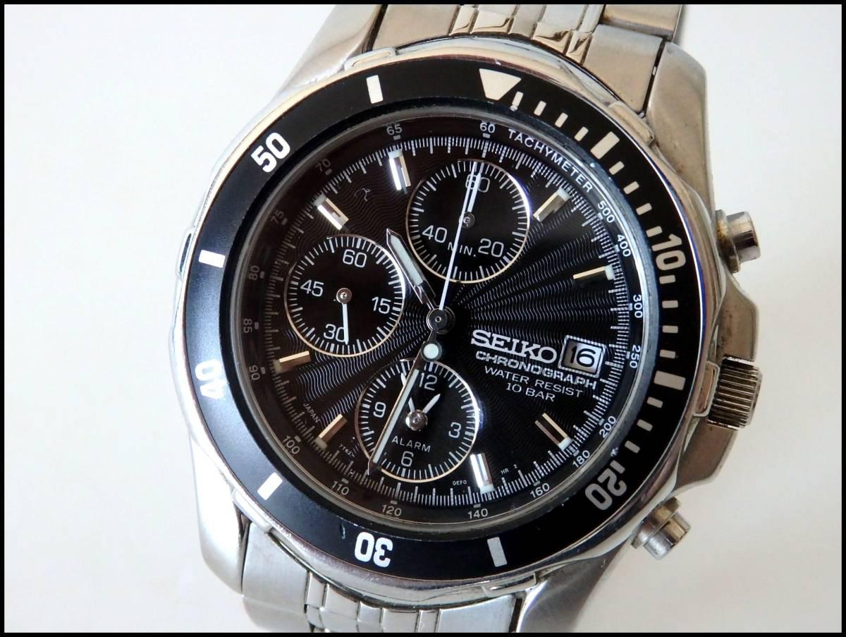 <本物 SEIKO セイコー 腕時計 クロノグラフ 7T62-0DT0 稼働品 電池交換済み>1.82.10 ☆定形外発送OK☆ 290円