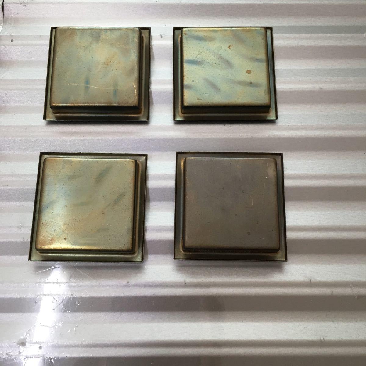 襖 引き手 真鍮 四方角 4個セット 44㍉×44㍉ 定形外郵便発送可_画像3