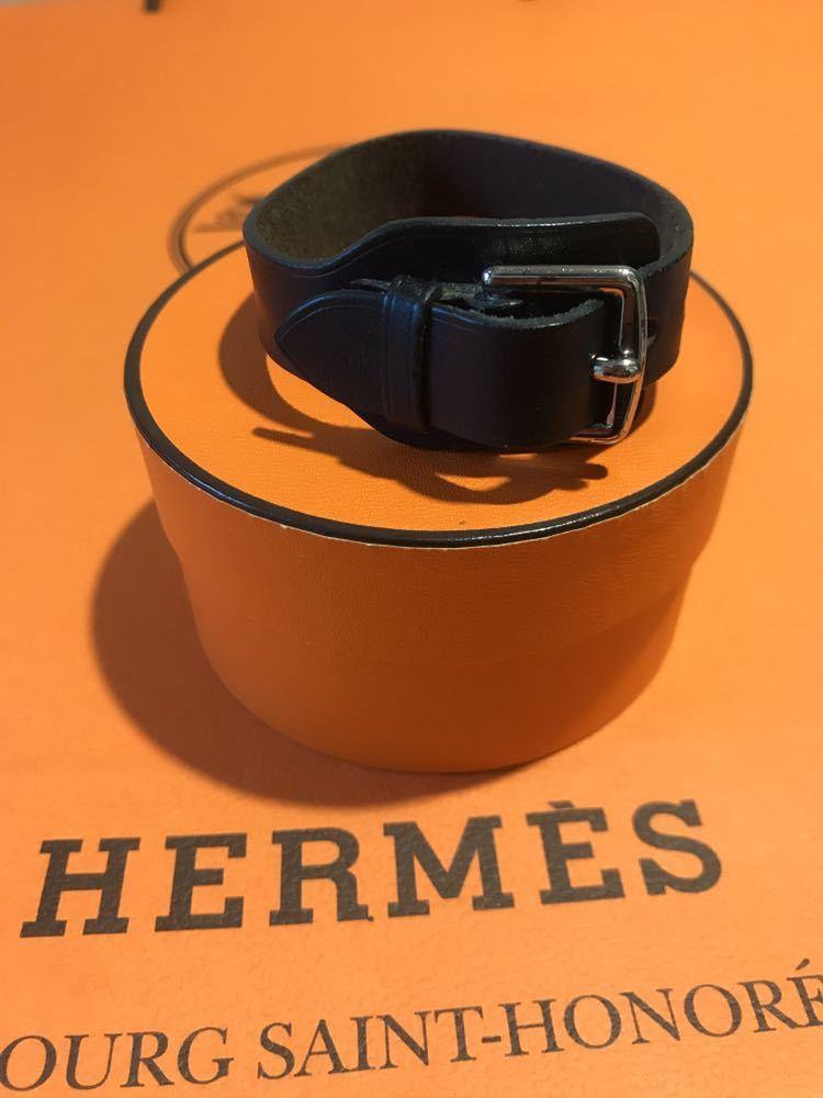 送料225円~!HERMES レザーブレスレット ブラック×シルバー