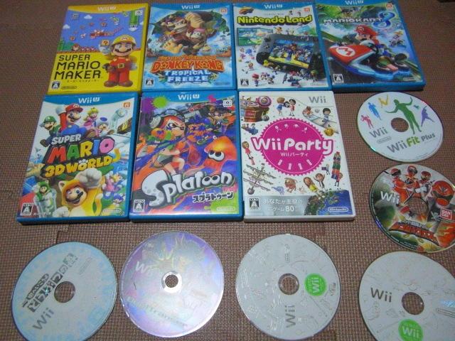 1円スタート【送料無料】WiiU Wii ソフト 13枚セット(ジャンク品)マリオカート スプラトゥーン ドンキーコング