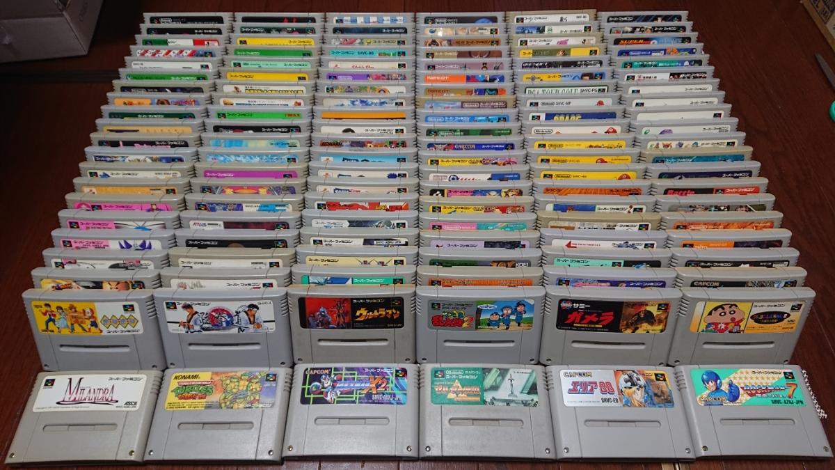 『1円~』SFCスーパーファミコンソフト 大量132本セット。ロックマン、マリオ、ゴエモン、ドラクエ、ボンバーマン等まとめ売り!