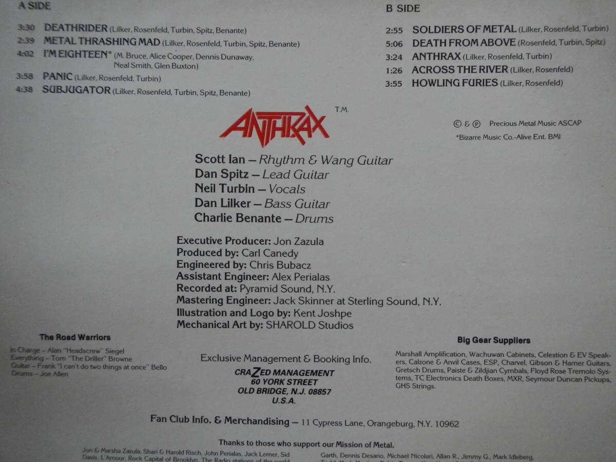 【LP】ANTHRAX(MFN14FISTFUL OF METAL仏MUSIC FOR NATIONS1983年アンスラックス)_画像3