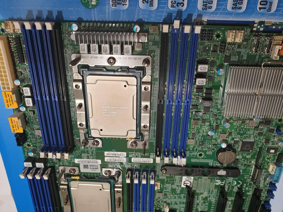 新品 SuperMicro LGA3647 X11DAI-N + 新品 Xeon Platinum 8180 ES 28C56T 1.8GHz TB 3.2GHz *2 計 56C112T 動作確認済み_画像3