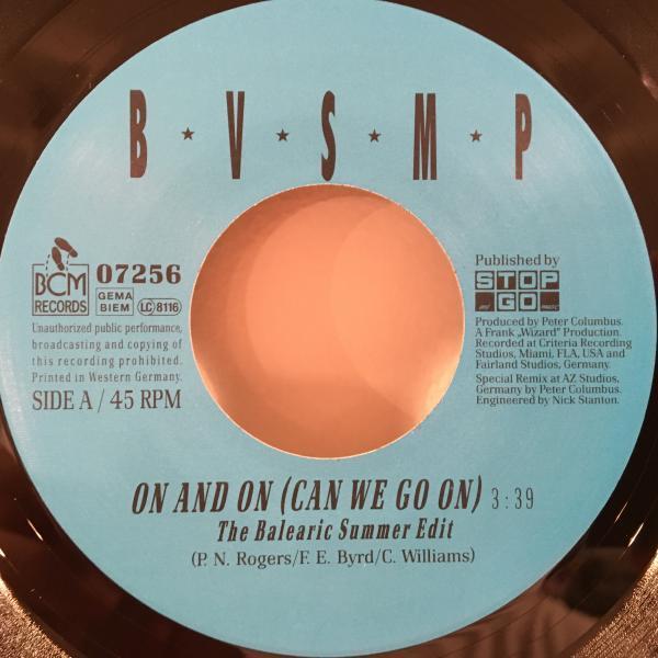 ☆B.V.S.M.P./On And On (Can We Go On)☆EURO MELLOW HIP-HOP!7inch 45_画像2