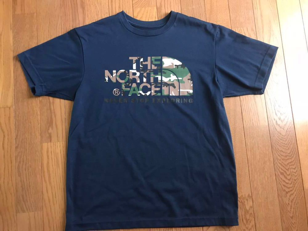 ノースフェイス カモフラージュロゴ Tシャツ メンズサイズM ドレスブルー色 ゴールドウィン国内正規品