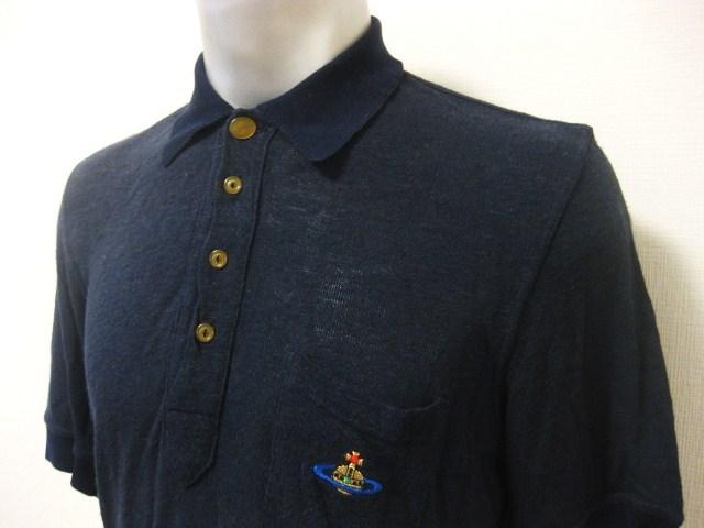 初期 Vivienne Westwood MAN ヴィヴィアンウエストウッドマン リネン混 麻 変形デザイン 半袖 ポロシャツ S 伊製 イタリア製 MADE IN ITALY_画像5
