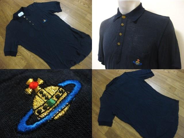 初期 Vivienne Westwood MAN ヴィヴィアンウエストウッドマン リネン混 麻 変形デザイン 半袖 ポロシャツ S 伊製 イタリア製 MADE IN ITALY_画像1