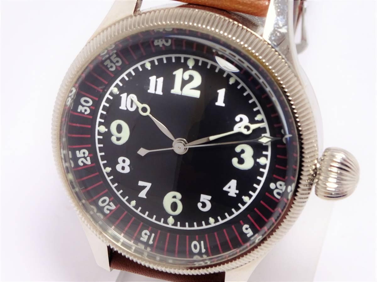 W6885 軍用 メンズ 空兵 時計 ビッグウォッチ アラビア数字 ブラック