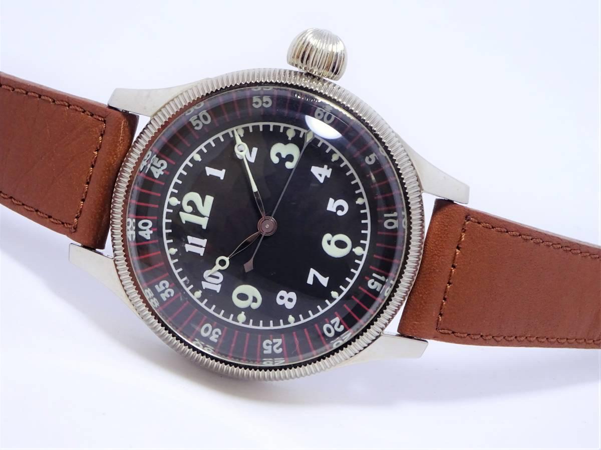 W6885 軍用 メンズ 空兵 時計 ビッグウォッチ アラビア数字 ブラック_画像2