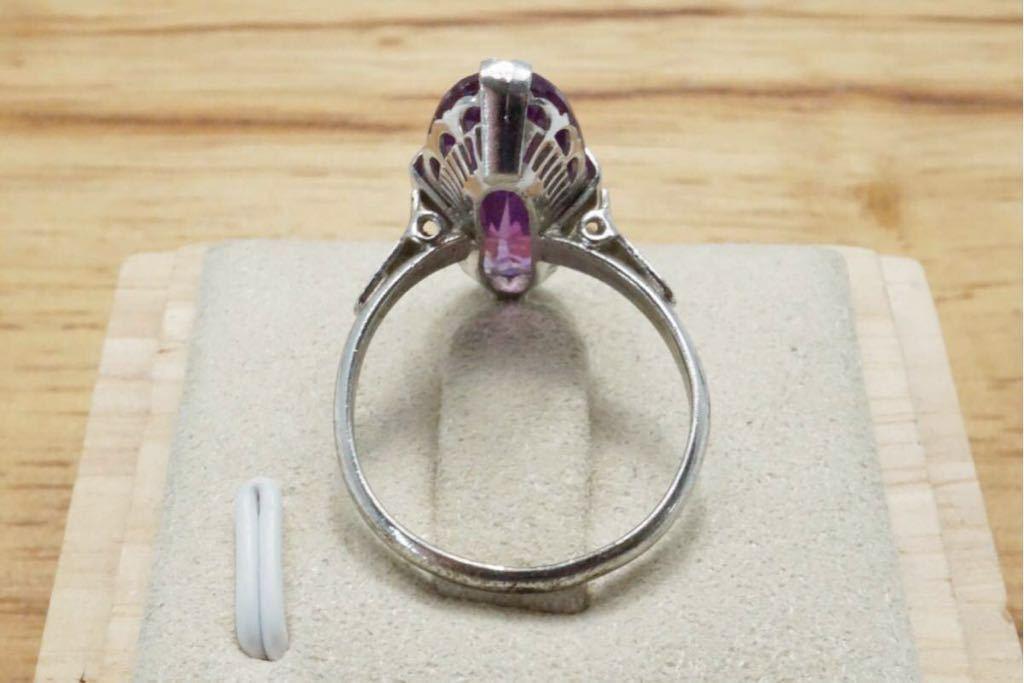 196 カラーチェンジサファイア 千本透かし 訳あり ヴィンテージリング 指輪 アクセサリー 天然石 色石 カラーストーン SILVER 宝石 15.5号_画像8