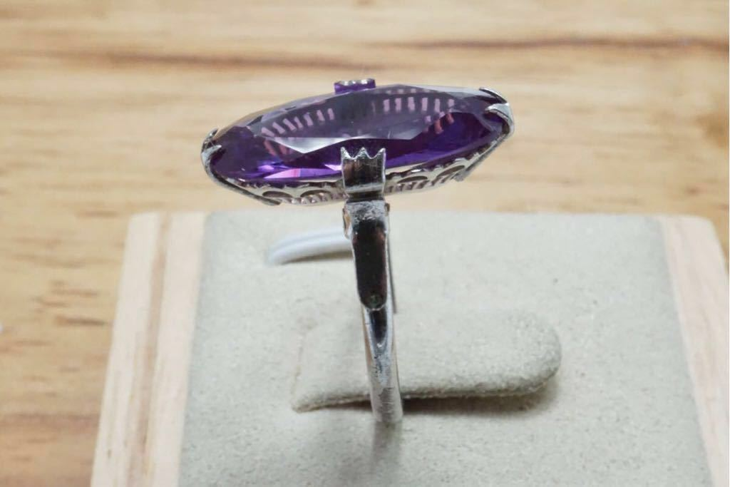 196 カラーチェンジサファイア 千本透かし 訳あり ヴィンテージリング 指輪 アクセサリー 天然石 色石 カラーストーン SILVER 宝石 15.5号_画像5