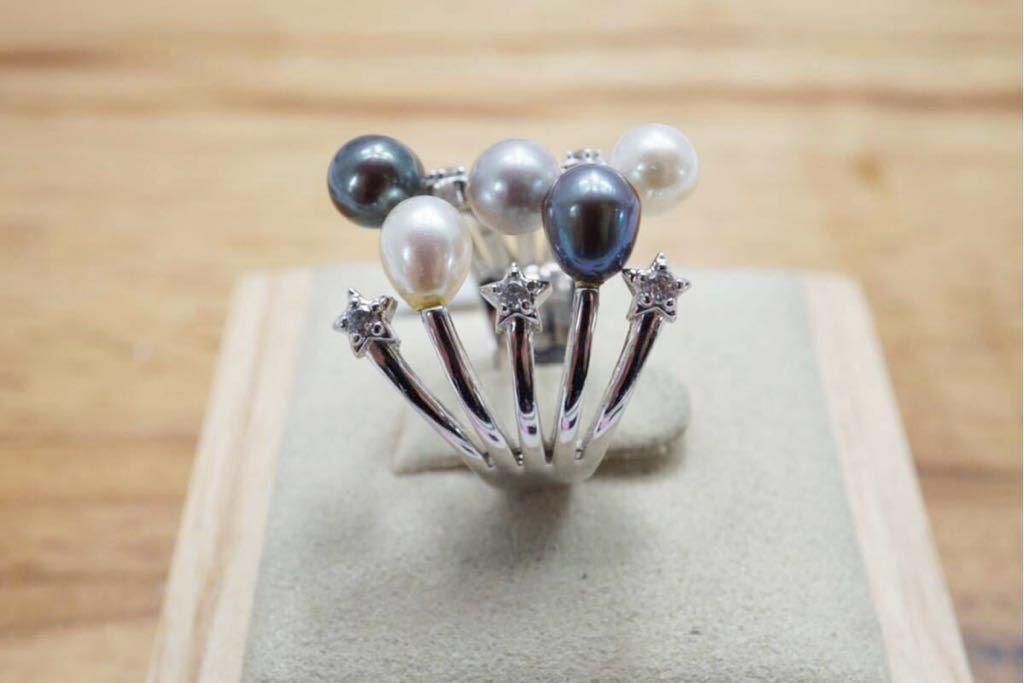 191 ソーティング付き 本真珠 パール ヴィンテージリング 指輪 アクセサリー 昭和レトロ アンティーク 宝石 冠婚葬祭 装飾品 10.5号_画像5