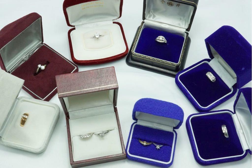 317 昭和レトロ ケース付き ヴィンテージリング 指輪 10点セット アクセサリー アンティーク 大量 まとめて おまとめ まとめ売り 装飾品