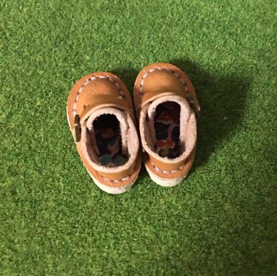 ハンドメイド 革靴 ブーツ ミニチュア 栃木レザー使用 (ピュアニーモS サイズ) 茶色 キャラメル 薄茶 リバティ _画像2