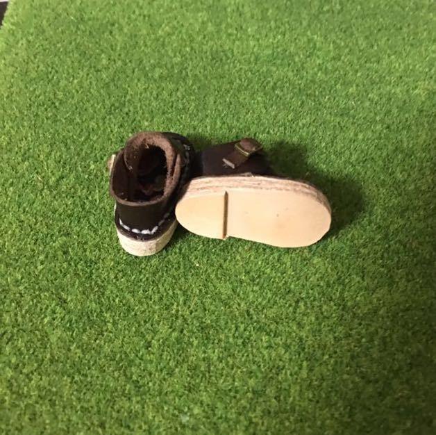 ハンドメイド 革靴 ブーツ ミニチュア 栃木レザー使用 (ピュアニーモS サイズ) 濃茶色 ブラウン リバティ_画像3
