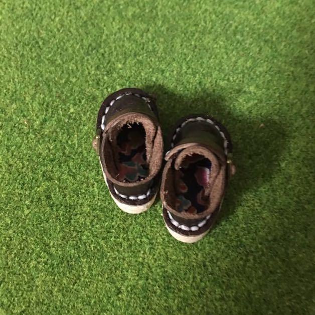 ハンドメイド 革靴 ブーツ ミニチュア 栃木レザー使用 (ピュアニーモS サイズ) 濃茶色 ブラウン リバティ_画像2