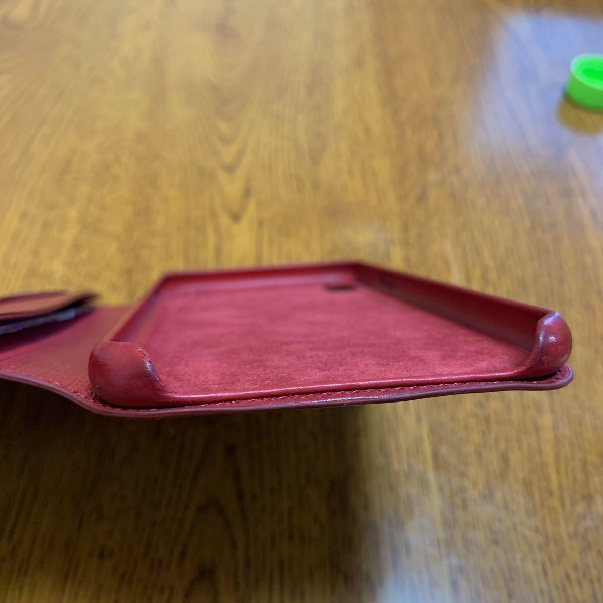 iPhone XS MAX Leather Folio レザーフォリオ スマホカバー スマホケース レッド 中古_画像9
