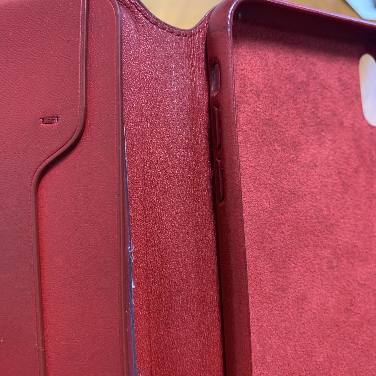 iPhone XS MAX Leather Folio レザーフォリオ スマホカバー スマホケース レッド 中古_画像8